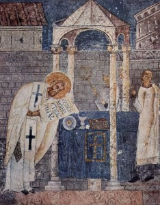 Fresco of Basil the Great in the cathedral of Ohrid. The saint is shown consecrating the Gifts during the Divine Liturgy which bears his name. Wikipedia