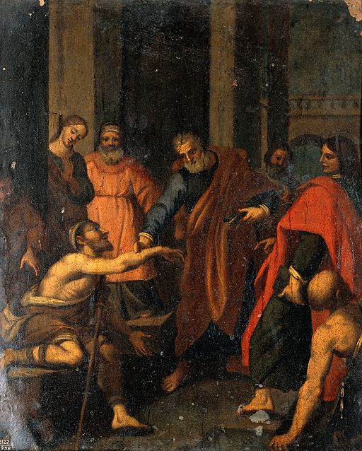 SS. Peter and John Healing the Lame Man at the Beautiful Gate, 17th century, Bolognese painter